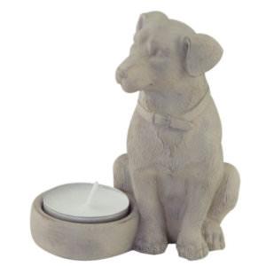 Tealight holder sitting Dog beige