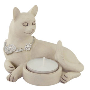 Tealight holder Cat with necklace white